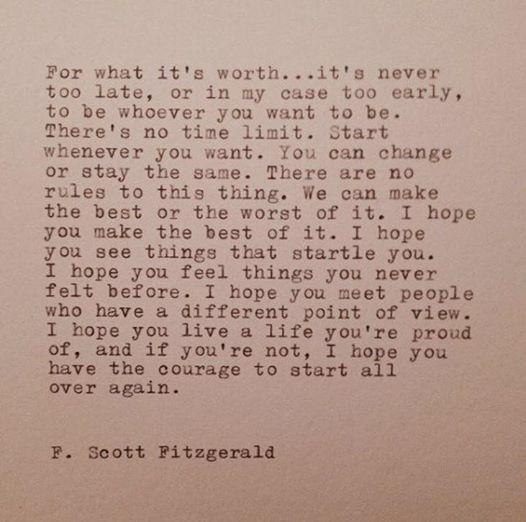 Never Too Late quote by F Scott Fitzgerald